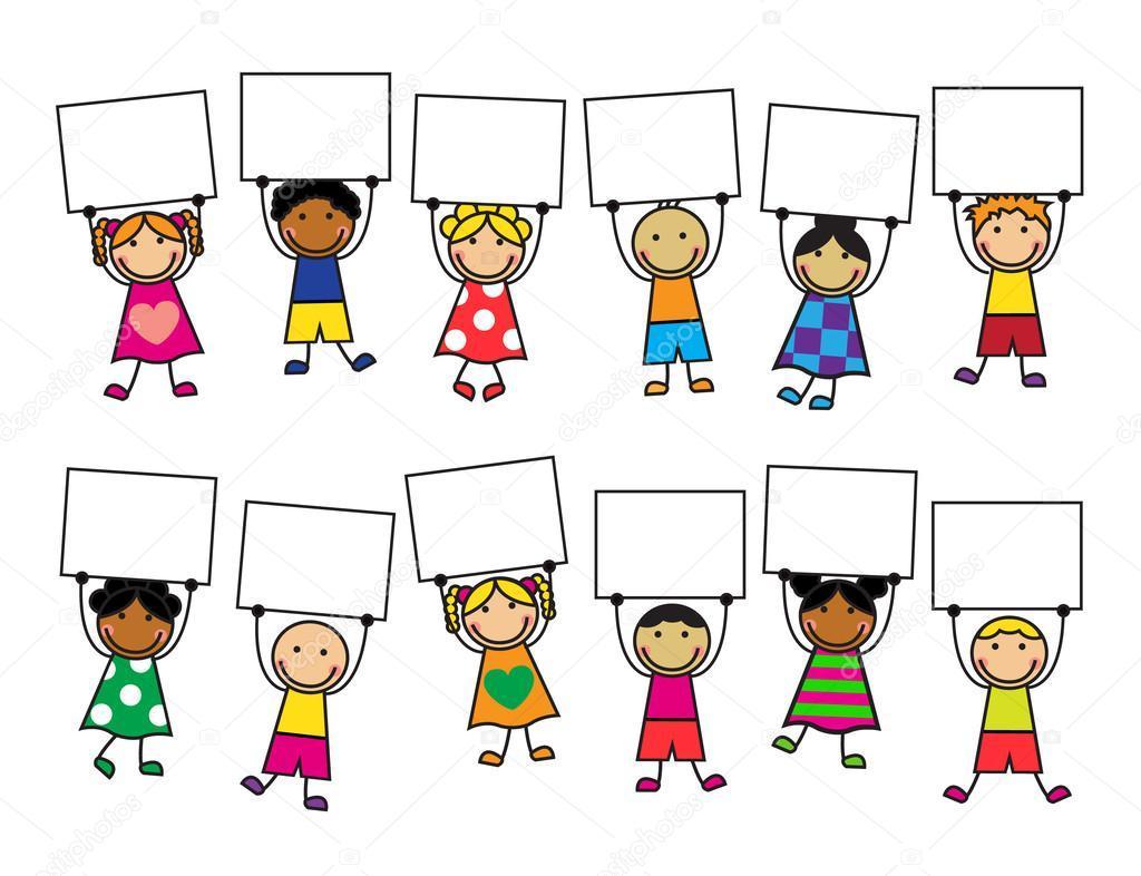 Kreslene Deti S Transparenty V Jejich Rukou Fototapeta12