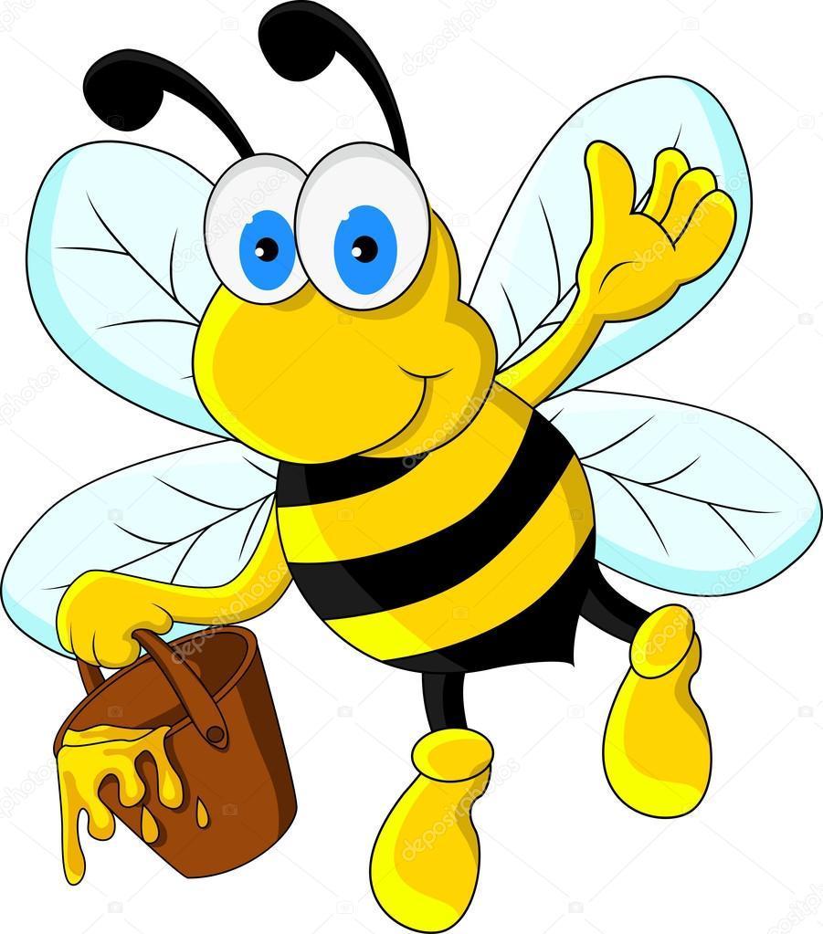 Happy bee kreslený - FotoTapeta12