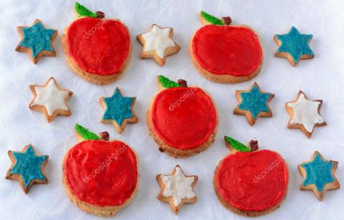 Sweet cut-out cookies for Rosh Hashanah Jewish New Year holiday