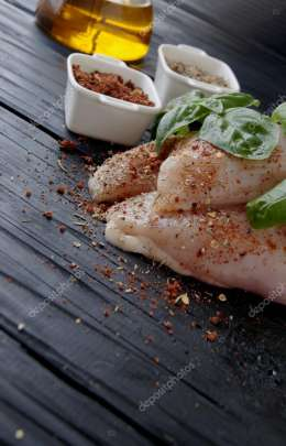 raw chicken breasts with herbs spices