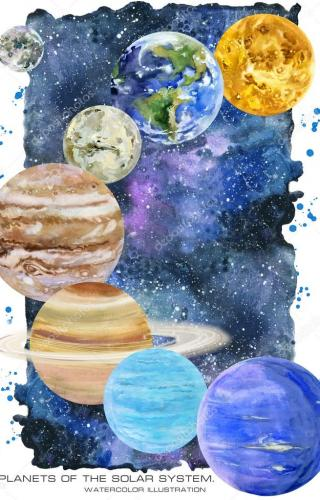 Planets of the solar system. watercolor illustration.