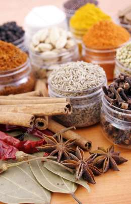 Closeup view of spices and herbs