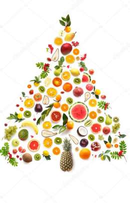 colorful christmas tree with fruits and vegetables