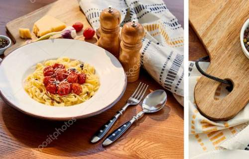 collage of delicious pasta with tomatoes served on wooden table with cutlery, napkin, seasoning and ingredients in sunlight near