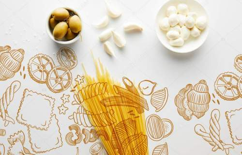 Top view of spaghetti, garlic, sea salt and bowls with olives and mozzarella on white background, food illustration