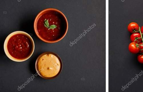 collage of bowls with tomato and mustard sauces near cherry tomatoes on black