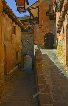 Picturesque streets of old Albarracin, medieval and historical town of the province of Teruel, Aragon, Spain