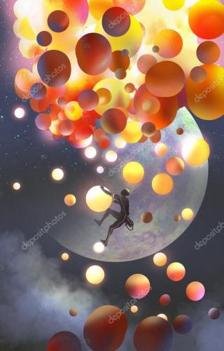 a man climbing fantasy balloons against fictional planets background