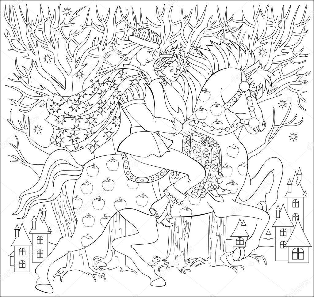 Cernobile Ilustrace Prince A Knizata Jizda Na Koni Pro Barveni