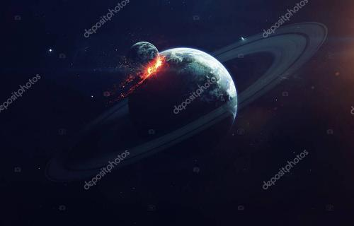 Planet Explosion. Apocalypse. End of The Time. Science fiction art. Beauty of deep space. Elements of this image furnished by NA