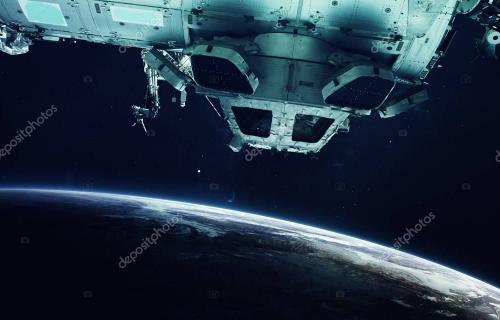 Space station and Earth planet. Elements of this image furnished by NASA