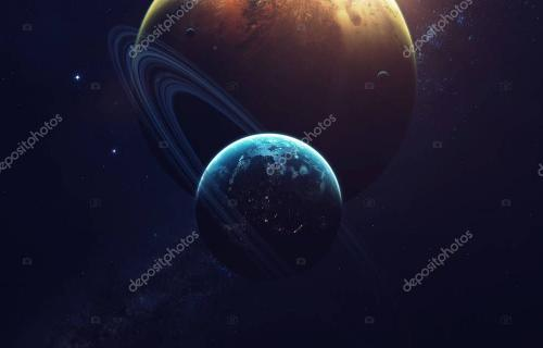 Deep space imagination, planets, stars and galaxies in endless universe Elements of this image furnished by NASA