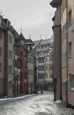 Half-timbered houses in one of the picturesque streets in the historical center of Nuremberg, Bavaria - Germany