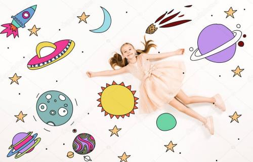 top view of cheerful kid in pink dress flying in space on white