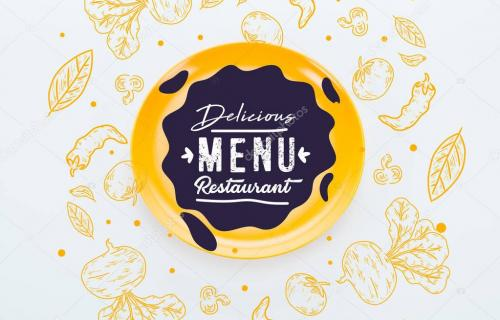 top view of shiny yellow plate with delicious restaurant menu lettering with vegetables illustration around on white background
