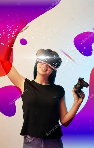 KYIV, UKRAINE - APRIL 5, 2019: Happy young woman in virtual reality headset with joystick in hands on beige and blue background