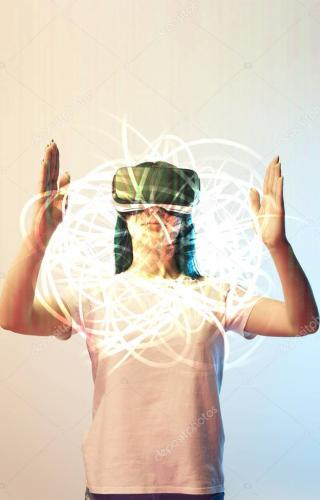 young woman in virtual reality headset holding glowing abstract illustration on beige and blue background