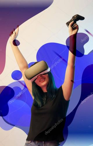 KYIV, UKRAINE - APRIL 5, 2019: Happy young woman in virtual reality headset with raised hands holding joystick on beige backgrou