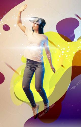 young excited woman in virtual reality headset levitating in air among glowing and abstract illustration on beige background