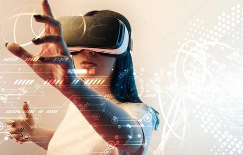 young woman in virtual reality headset gesturing with hands among glowing cyber illustration on beige background