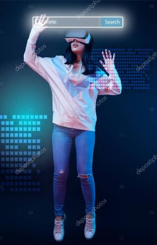 young excited woman in virtual reality headset levitating in air among glowing data illustration on dark background with search