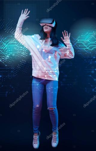 young excited woman in virtual reality headset levitating in air among glowing data illustration on dark background
