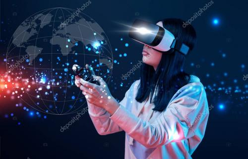 KYIV, UKRAINE - APRIL 5, 2019: Young woman in virtual reality headset using joystick on dark background with globe illustration