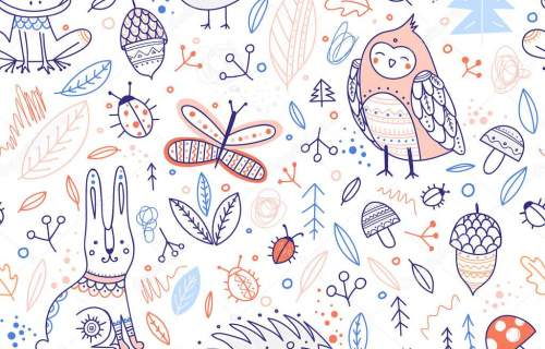 Can be printed and used as wrapping paper, wallpaper, textile, fabric, etc.Cute forest animals and elements vector seamless patt