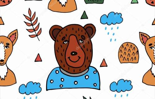 Forest animals seamless pattern. Childrens background for the design of textiles, wallpaper, packaging.