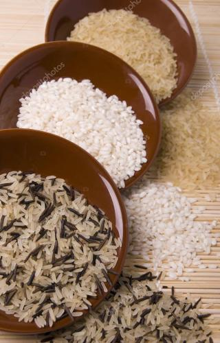 Various shapes of rice black white and brown