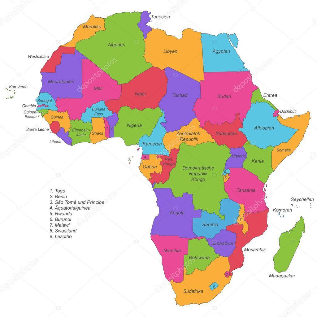 Afrika Politicka Mapa Afriky Fototapeta12
