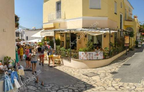 ANACAPRI, ISLE OF CAPRI, ITALY - AUGUST 2019: Panoramic view of narrow streets in the hilltop town of Anacapri on the Isle of Ca