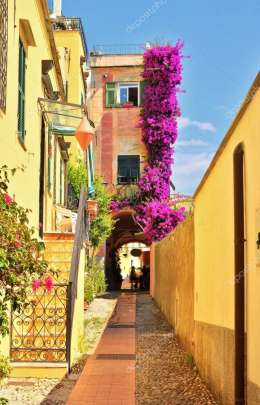 Cervo, Imperia, Liguria, Italy. One of the pretty and picturesque streets that cross the historic center of Cervo, one of the mo