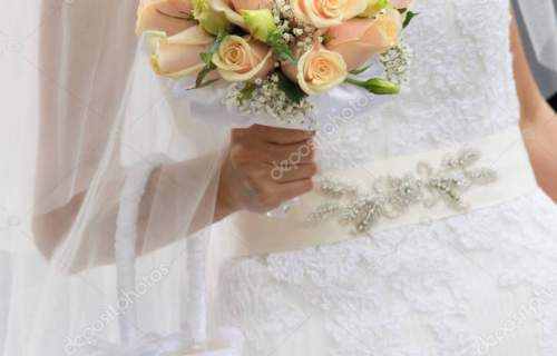 Close view of wedding bouquet in bride hand
