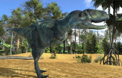 Dinosaur 3d illustration against the background of the Mesozoic Forest