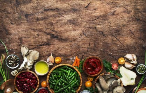Food cooking background, ingredients for preparation vegan dishes, green bean, vegetables, roots, spices, mushrooms and herbs. H