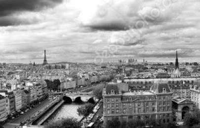 "Paris by Notredame - Landscape "" Black and white \"""